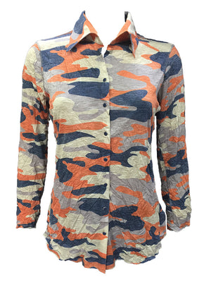 Crushed Long Sleeve Rust Shirt
