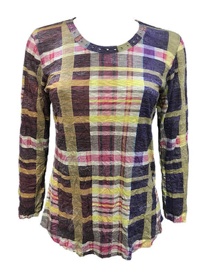 Crushed Long Sleeve Plaid Crew w/Stones