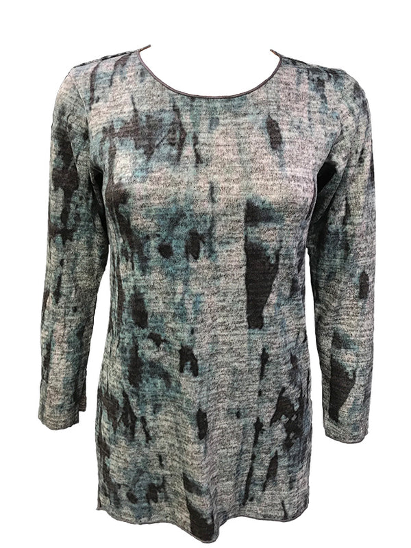 Long Sleeve Teal Hacci Scoop Neck