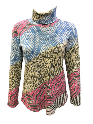 Long Sleeve Animal Hacci Turtleneck