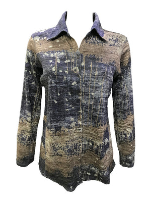 Long Sleeve Indigo Hacci Shirt
