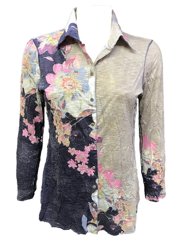 Crushed Long Sleeve Flower Shirt