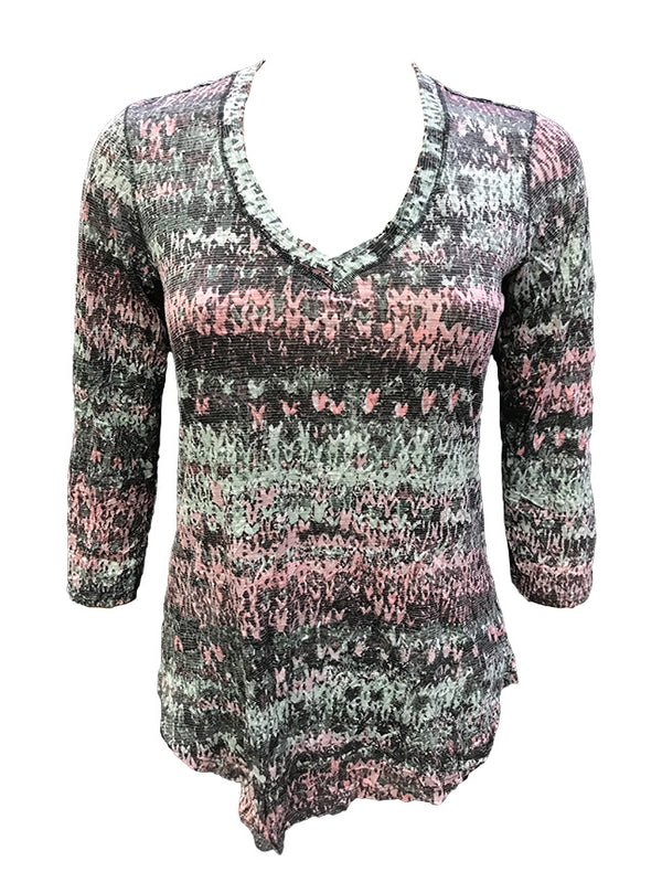 Crushed 3/4 Sleeve Mauve V-Neck