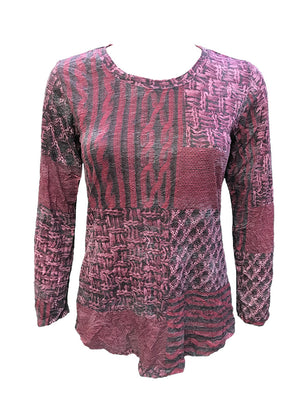 Crushed Long Sleeve Merlot Crew Neck