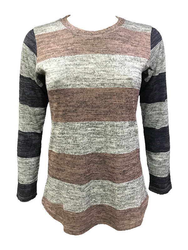 Long Sleeve Taupe Hacci Crew Neck w/Stones