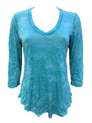 Crushed 3/4 Sleeve Aqua V-Neck