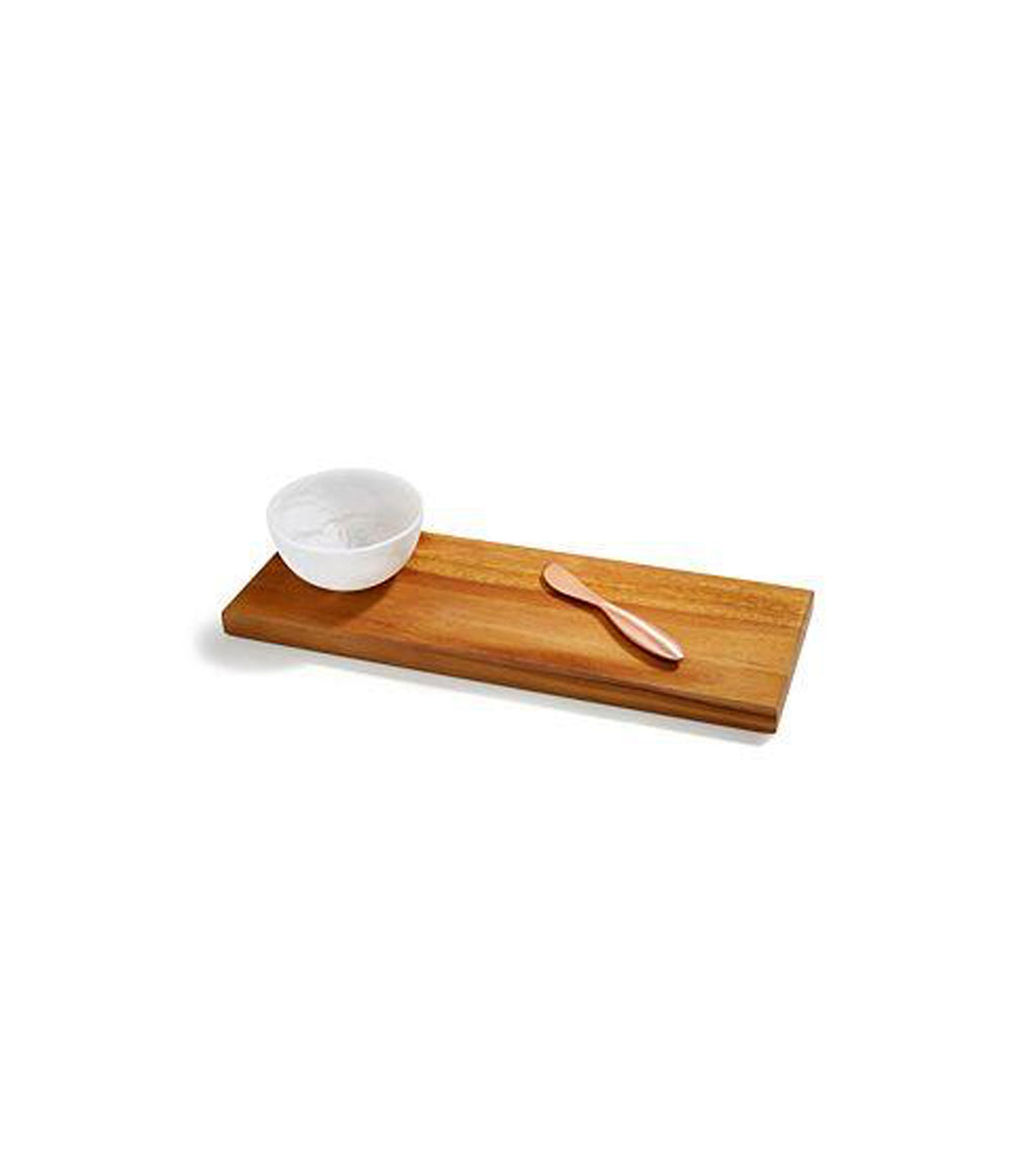 Danese Acacia Board & Alabaster Bowl Set