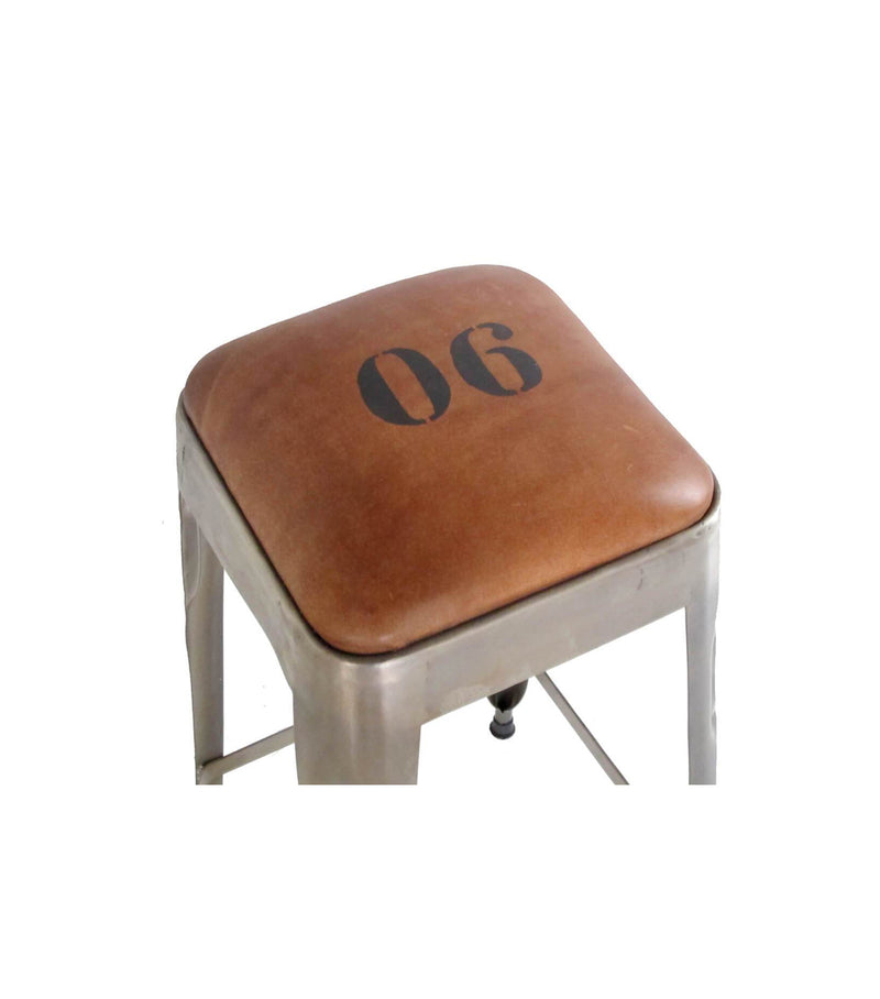 Ironworks Counter Stool with Leather Top