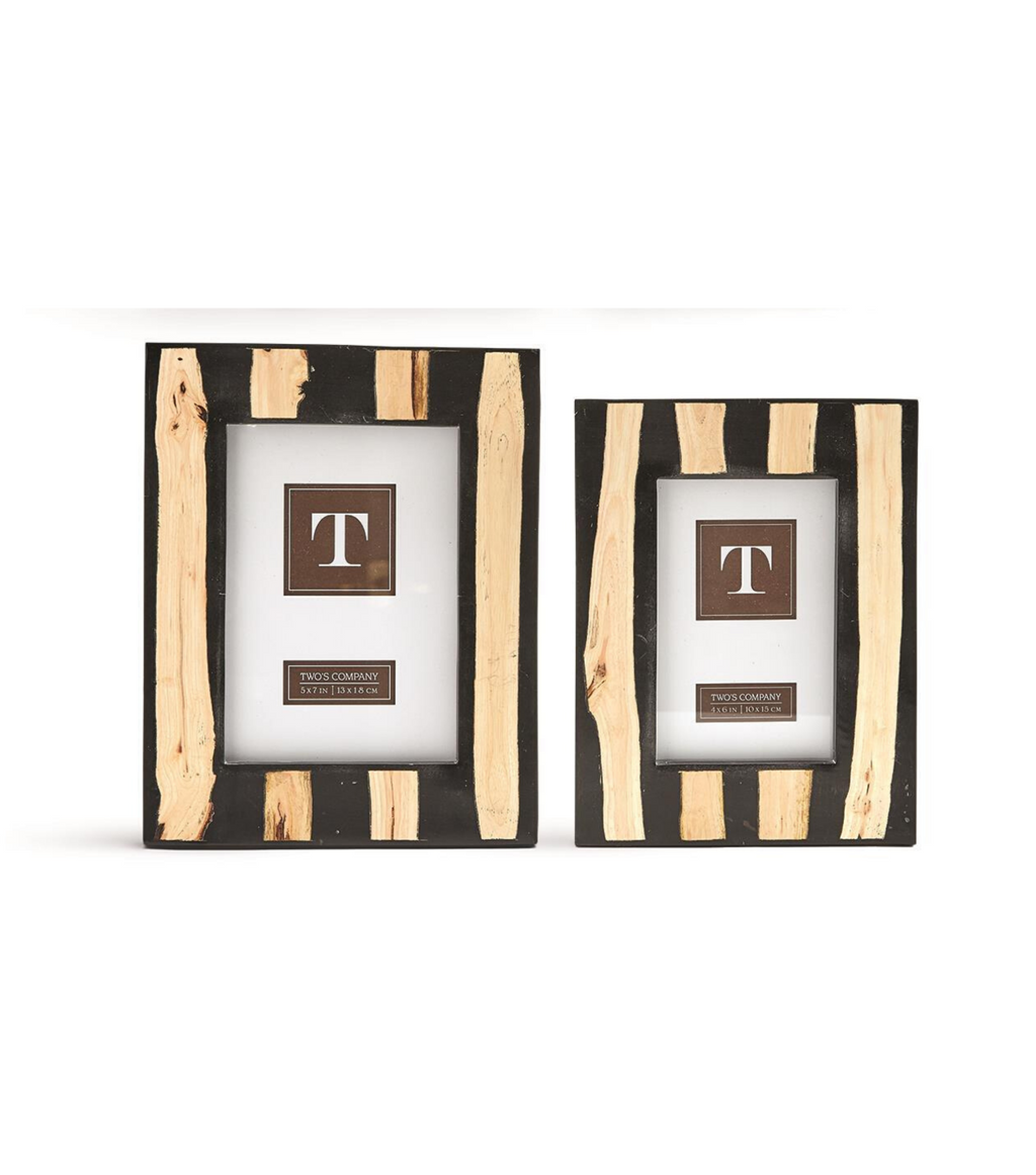 Wood Striped Photo Frame- Black