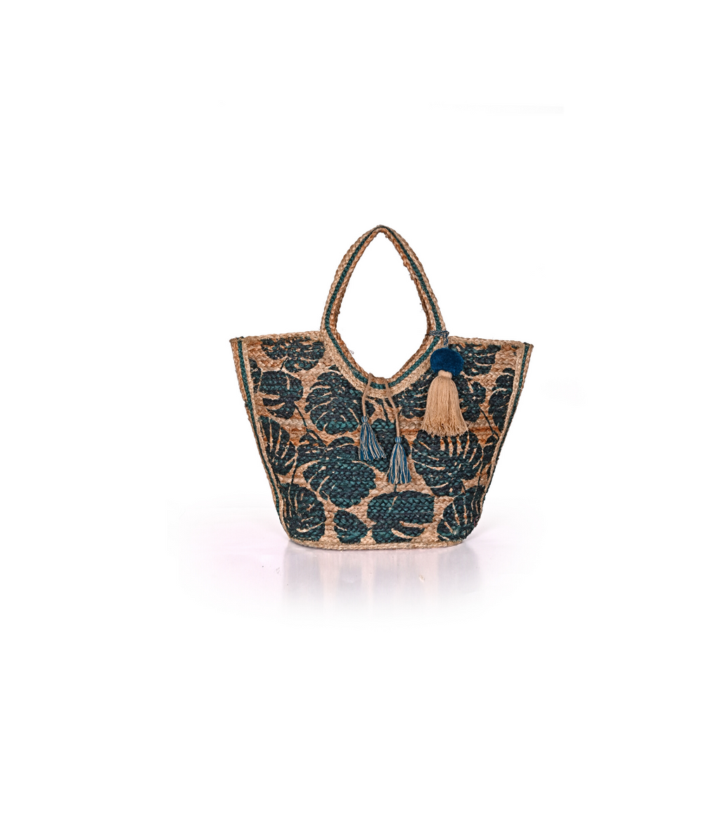 Tropical Leaf Jute Tote