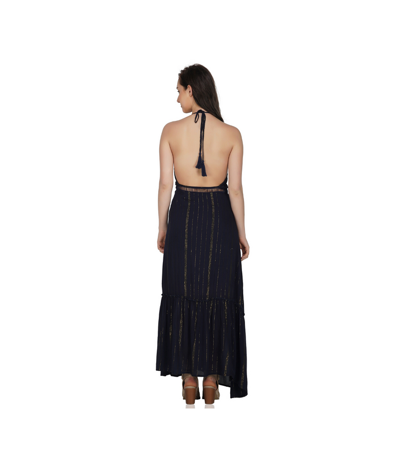 Navy & Gold Maxi Dress