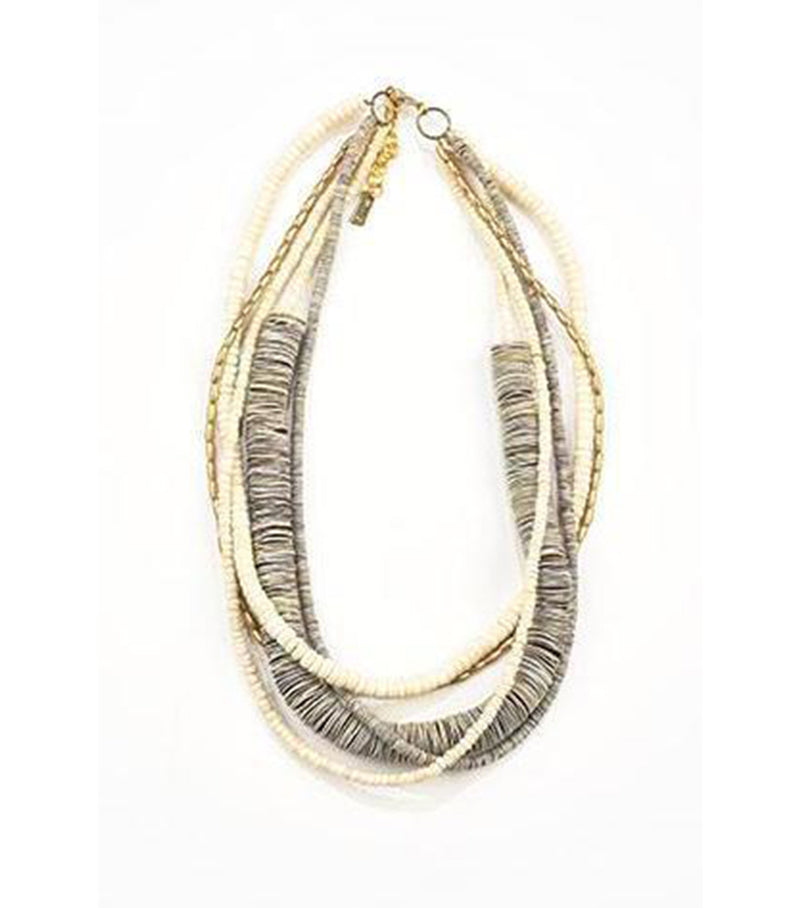 5 Strand Grey Shell Necklace