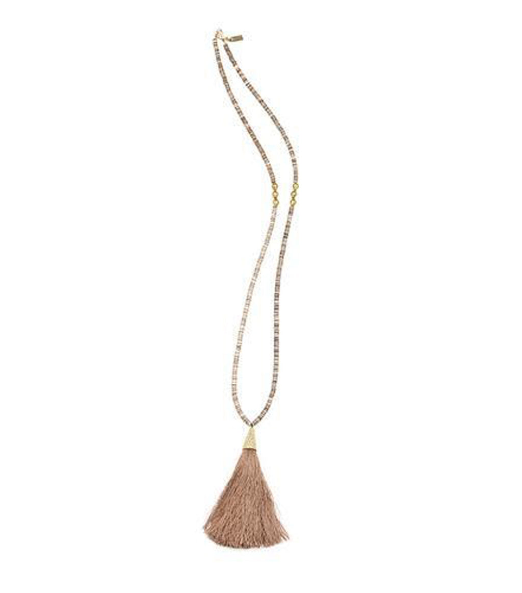 Blush Tassel Necklace w/Voluta Shell