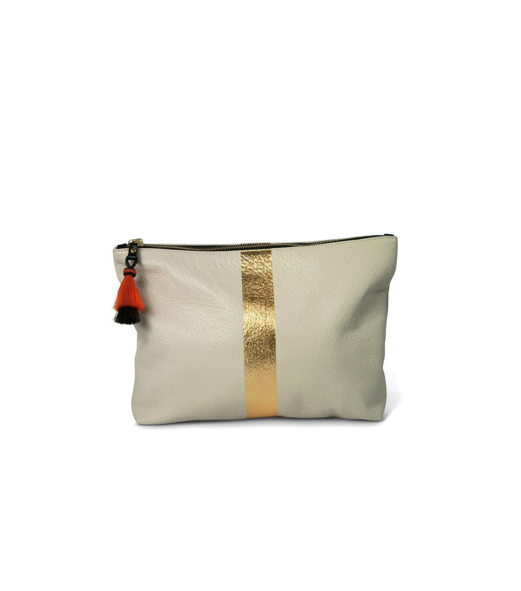 Chalk/Gold Leather Bag
