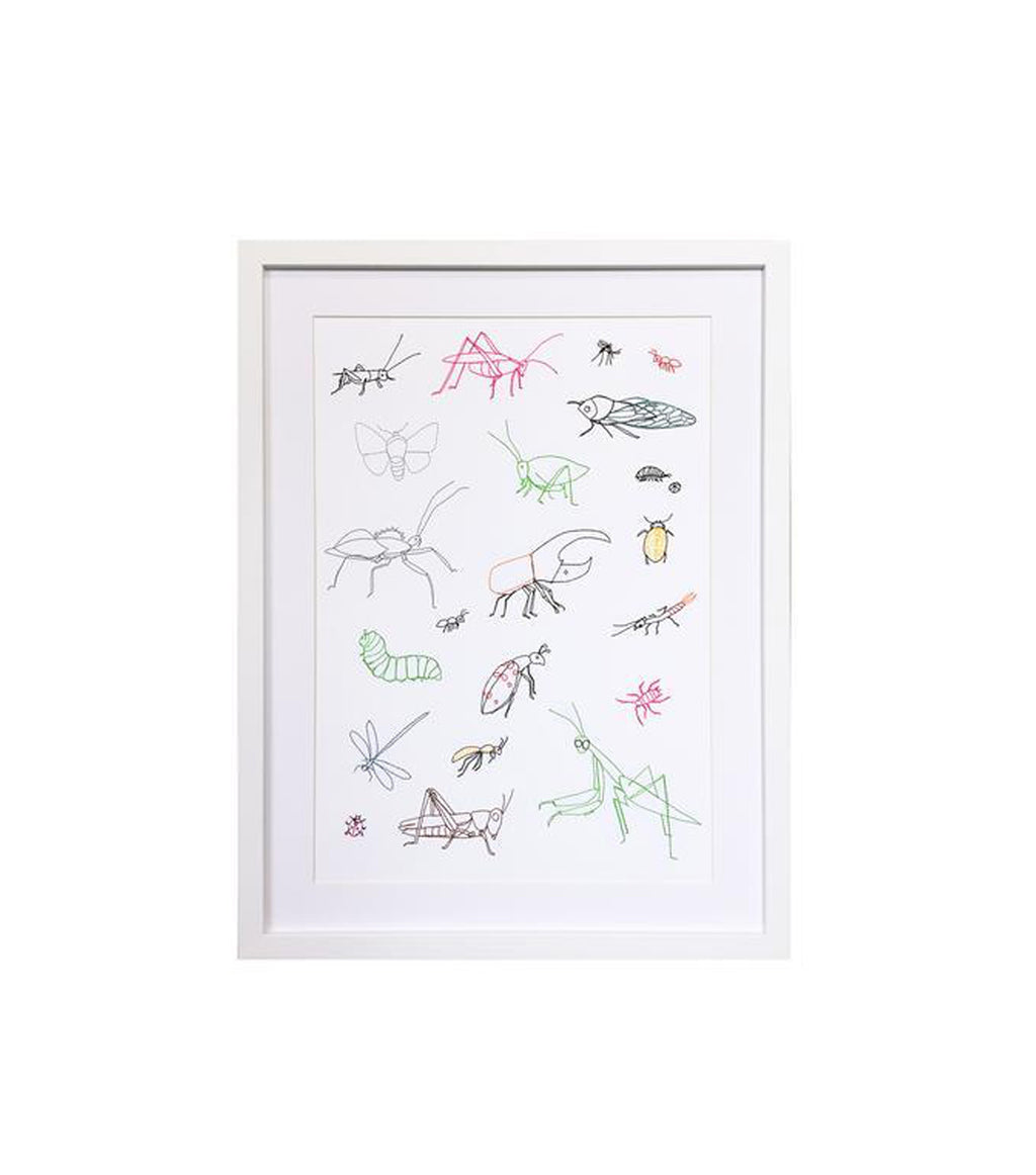 Embroidered Bugs Framed Art
