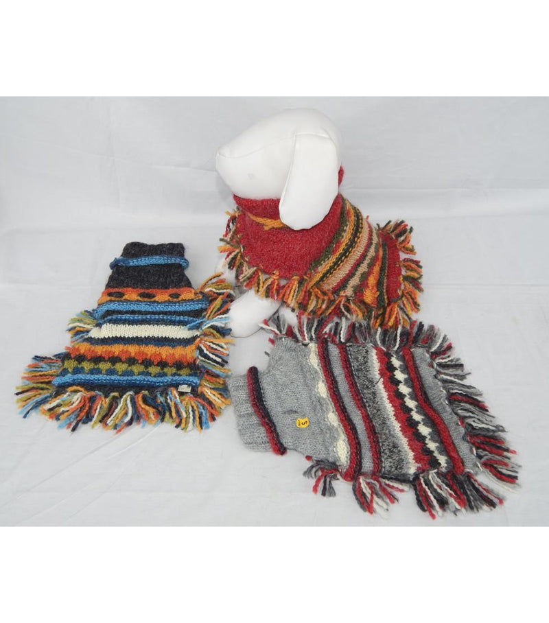 Striped Doggie Poncho with Multicolor Fringe