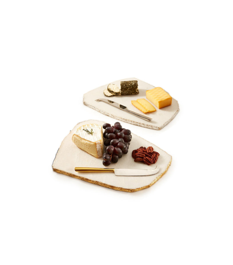 White Marble Cheese Board w/Knife