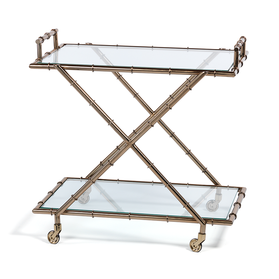 Metal Bamboo Bar Cart