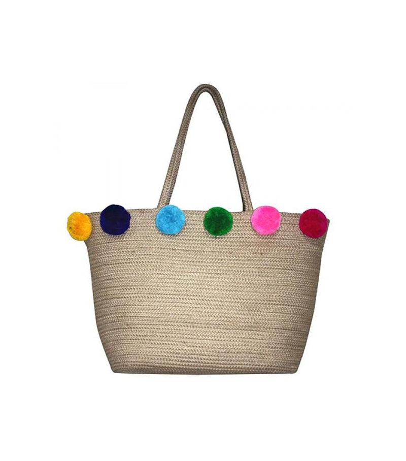 Jute Tote with Multi-Color Pom Poms