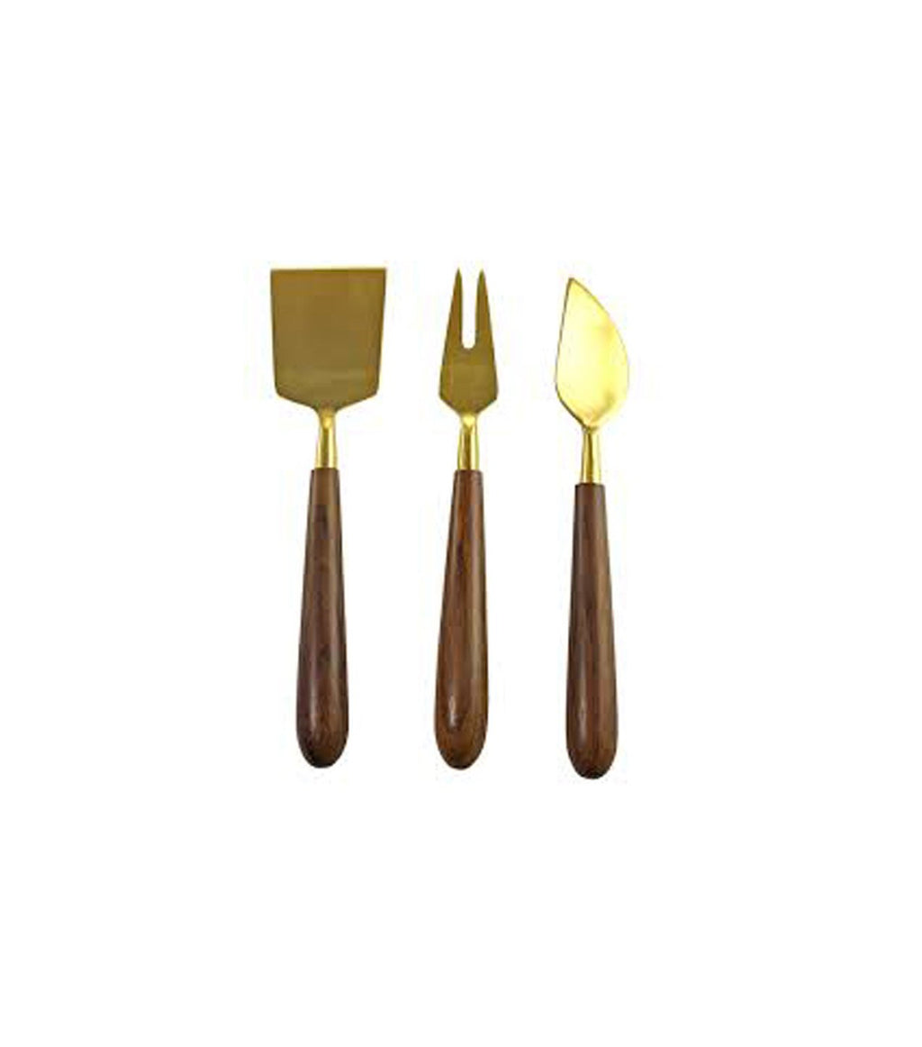 Gold & Wood Cheese Set of 3