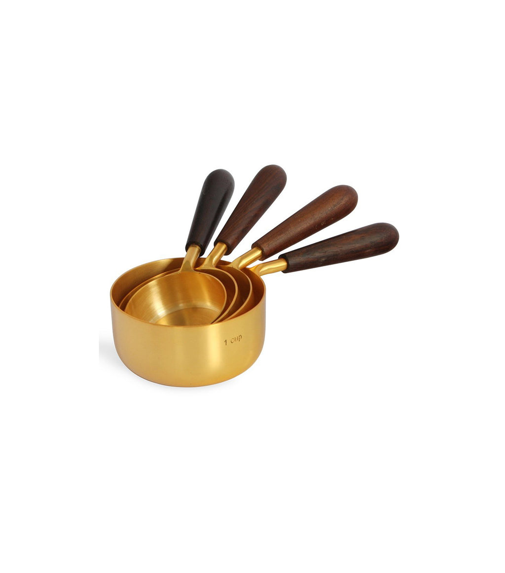 Gold & Wood Measuring Cups- Set of 4