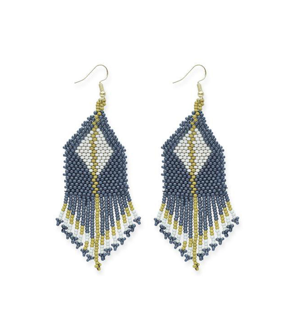Diamond w/Stripe Fringe Seed Bead Earring