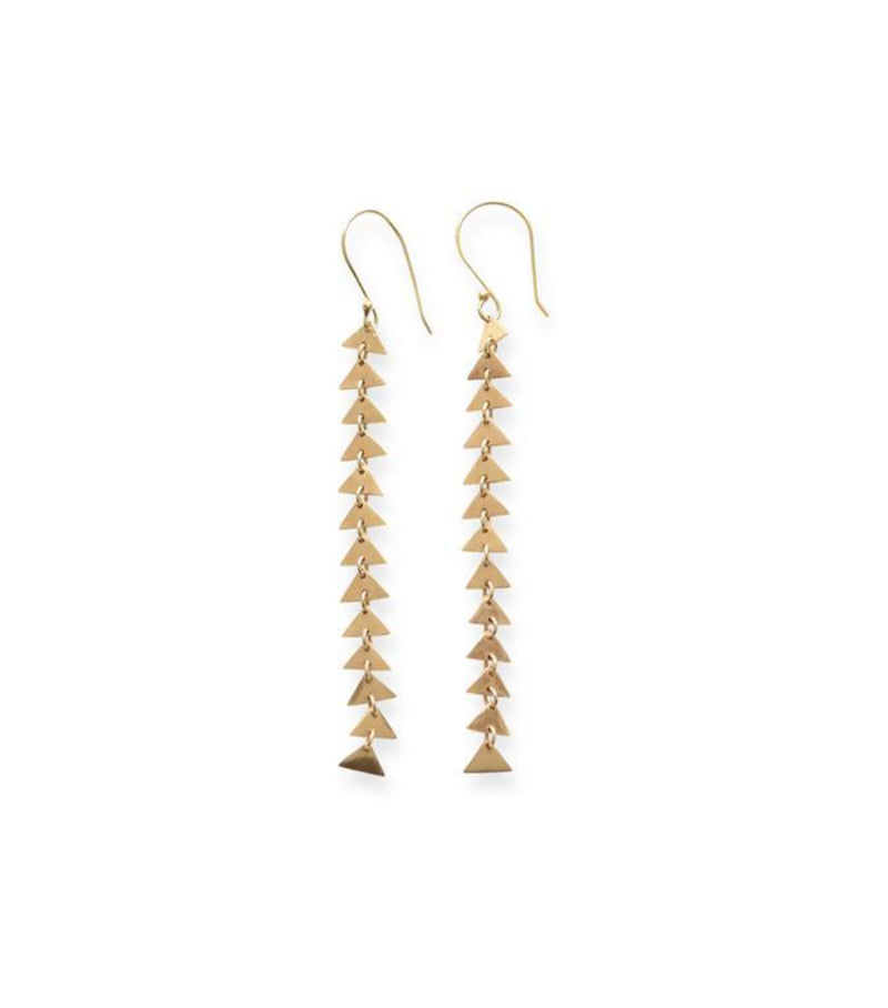 Brass Triangle Link Earrings