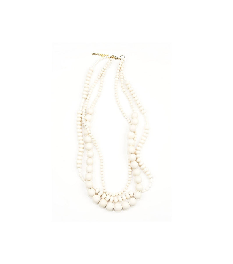 White Wood 3-Strand Necklace