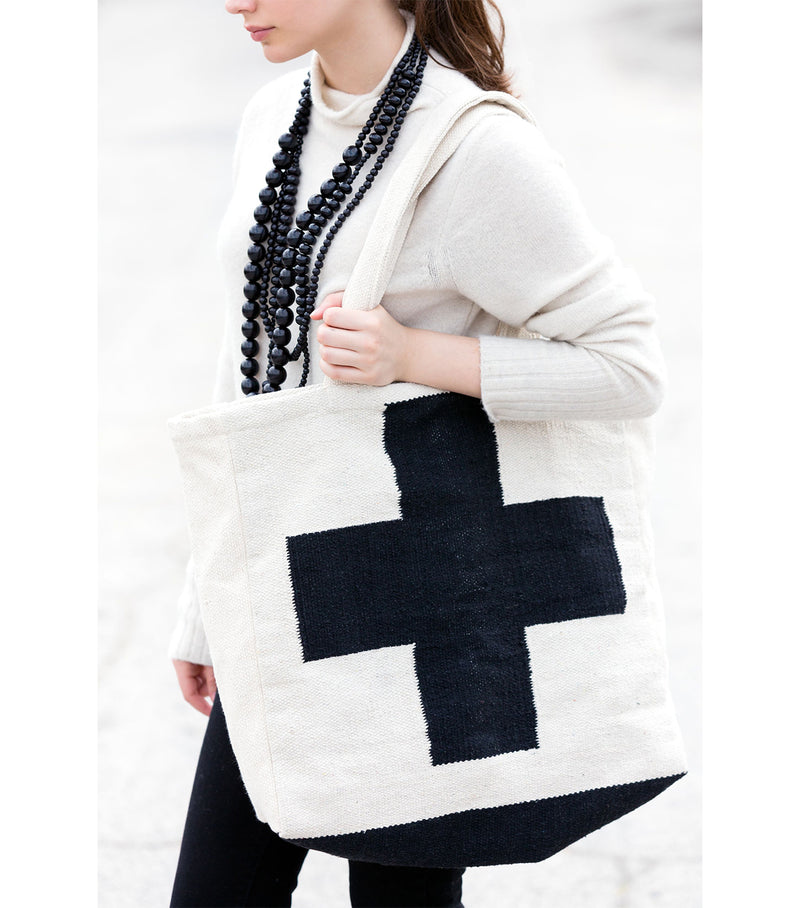 B+W Cross Tote Bag