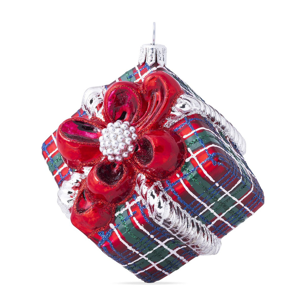 Tartan Present Glass Ornament