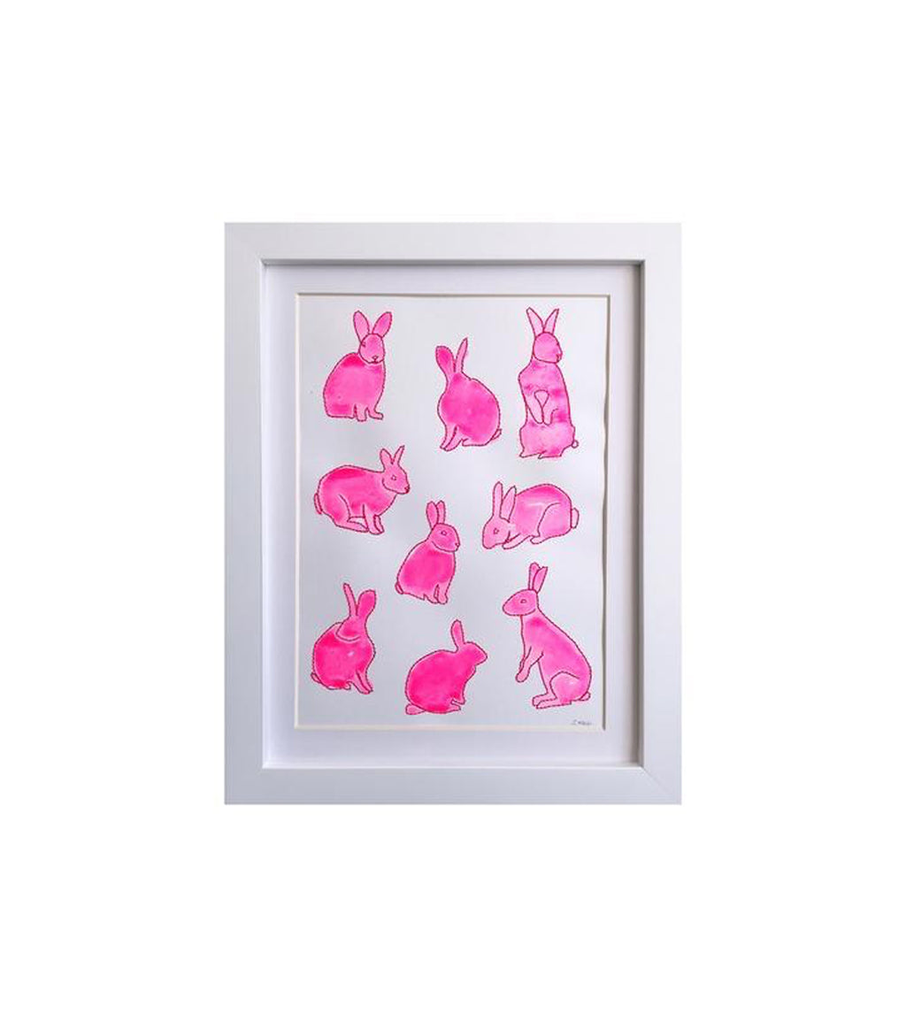 Pink Rabbits Framed Art