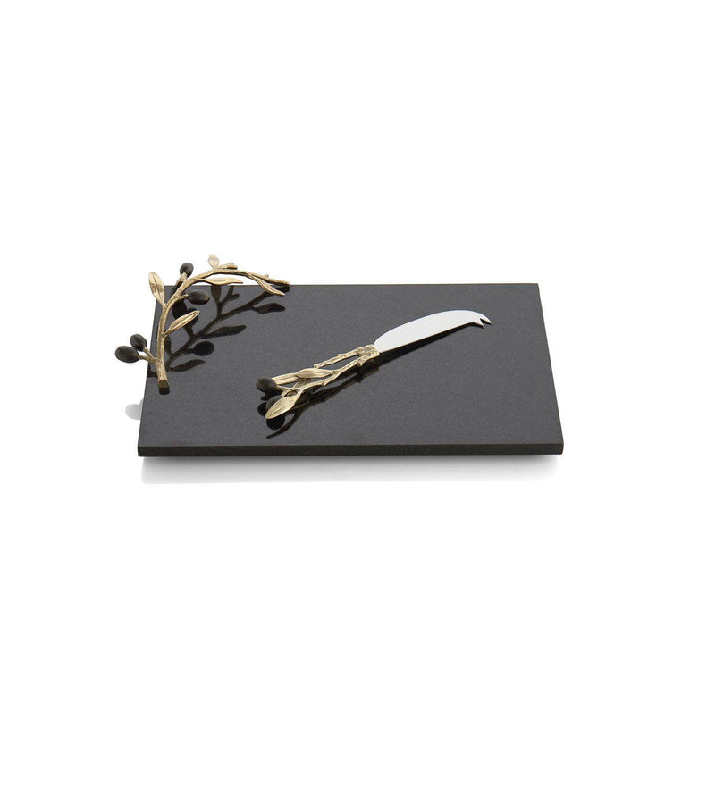 Olive Branch Gold Cheeseboard with Knife