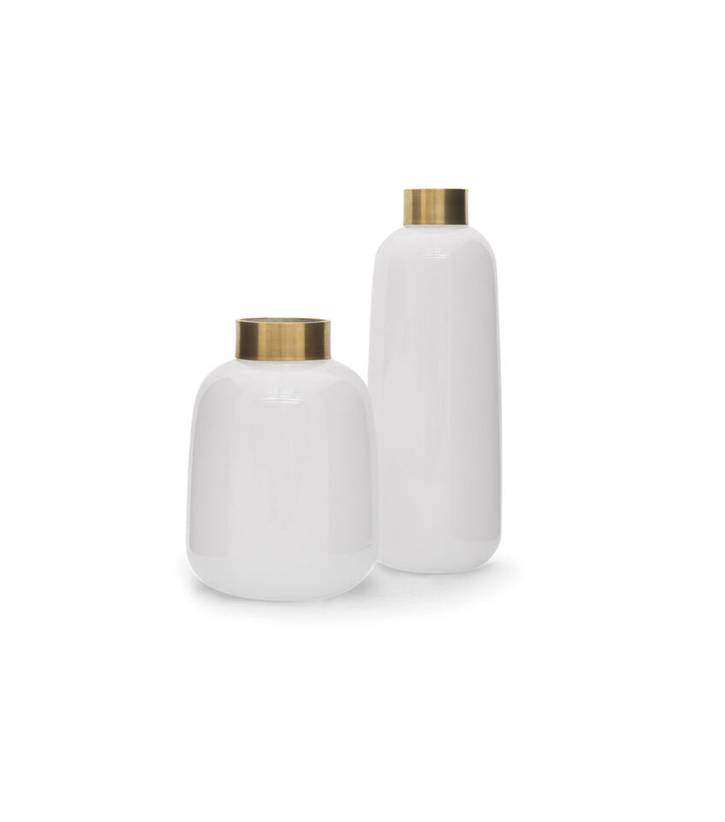 White Glass & Brass Vase