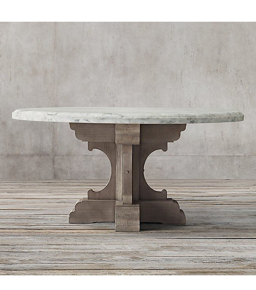 Oak and Marble Round Dining Table