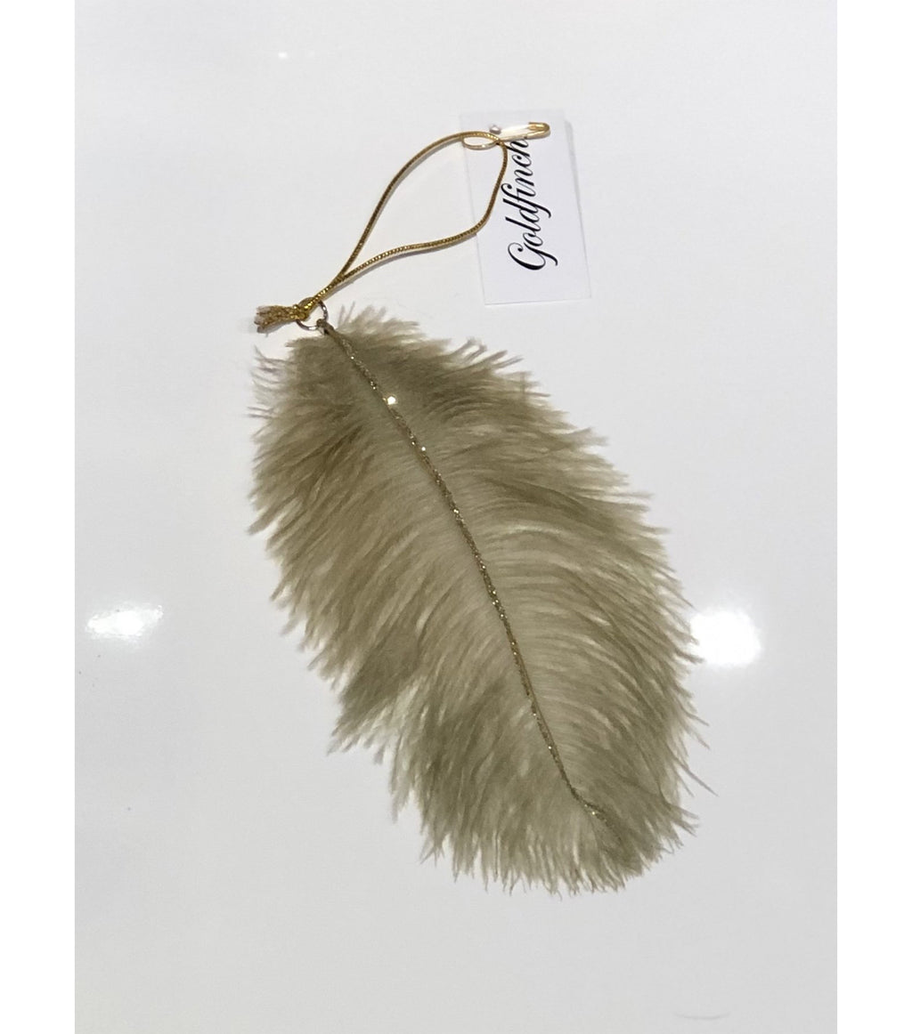 Taupe Glitter Feather Ornament