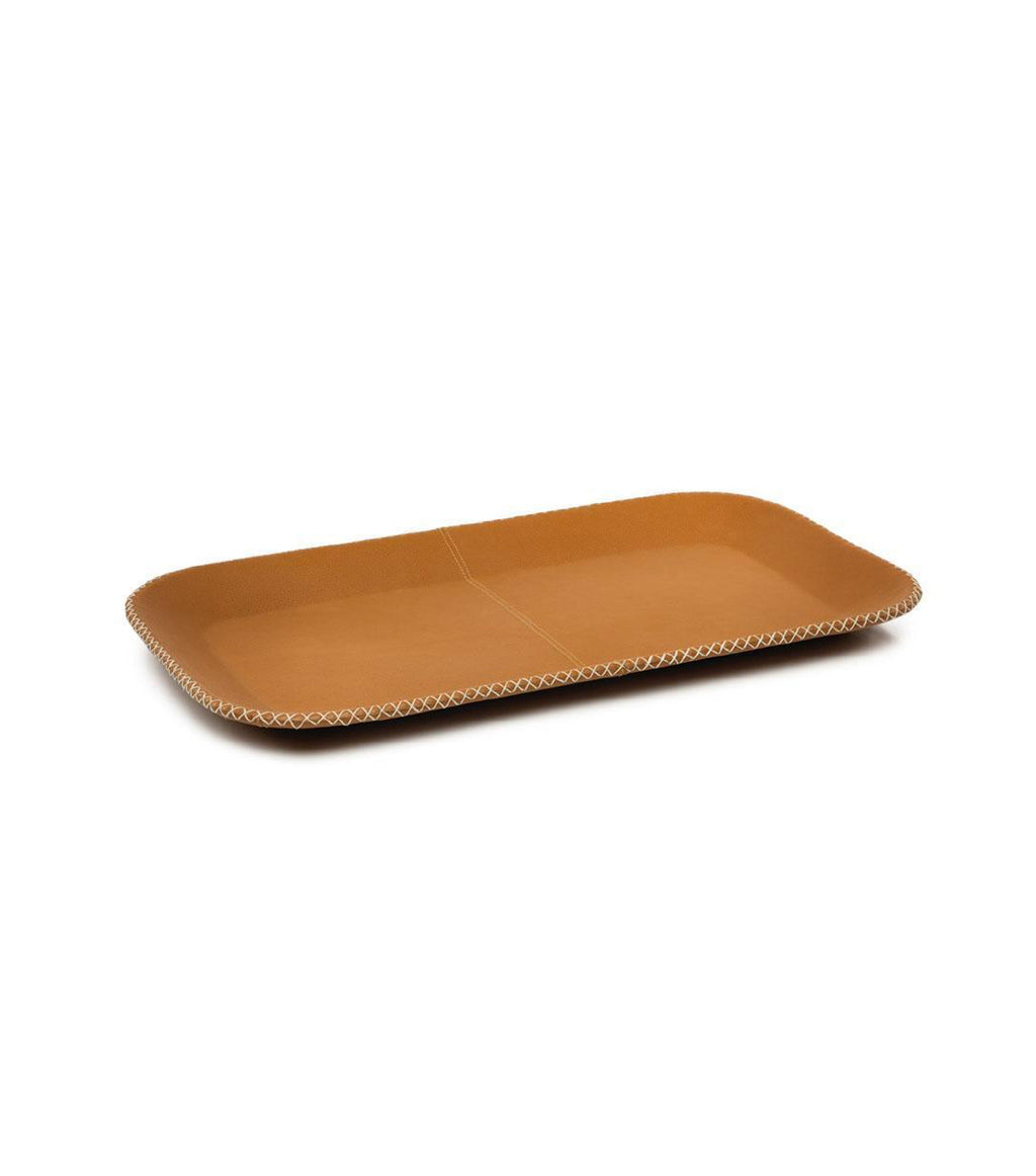 Tan Leather Serving Tray