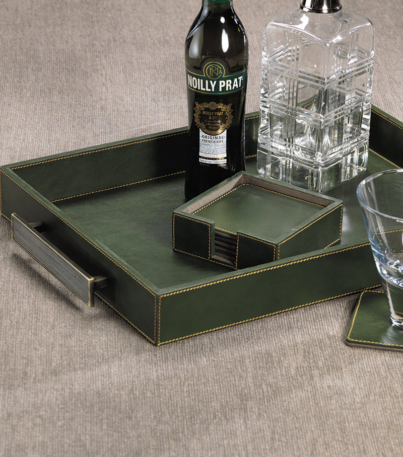 Rectangular Leather Serving Tray with Handles-Green
