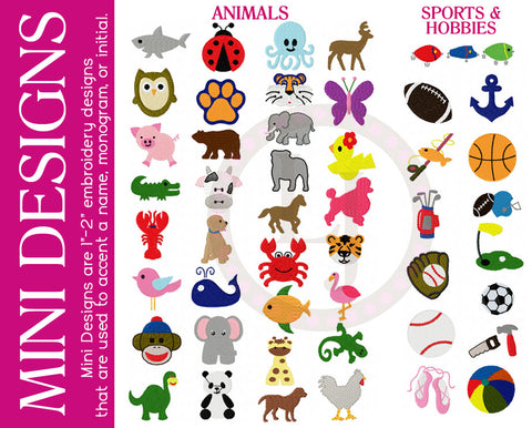 Personalization Options- Mini Designs- Animals, Sports, Hobbies