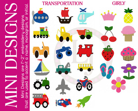 Personalization Options- Mini Designs- Transportation, Girly