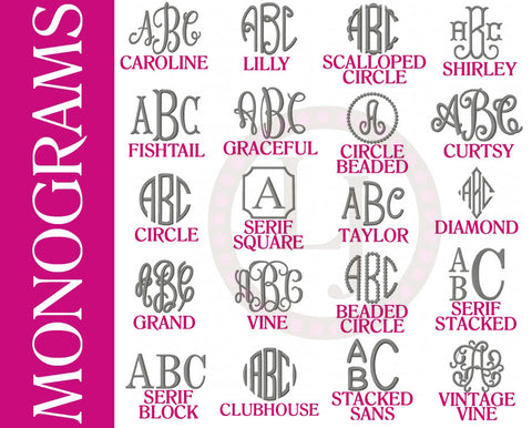 personalization options- monograms