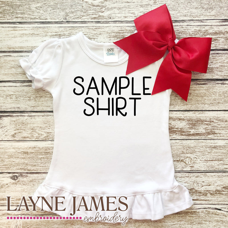 SAMPLE Ruffle Short Sleeve Shirt-White, 8Y