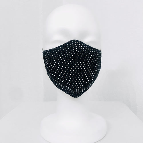 Keneea Linton Black Cotton Mask with White Polka-dots