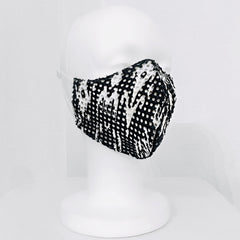 Keneea Linton Black and White Neoprene/ Knit Face Mask
