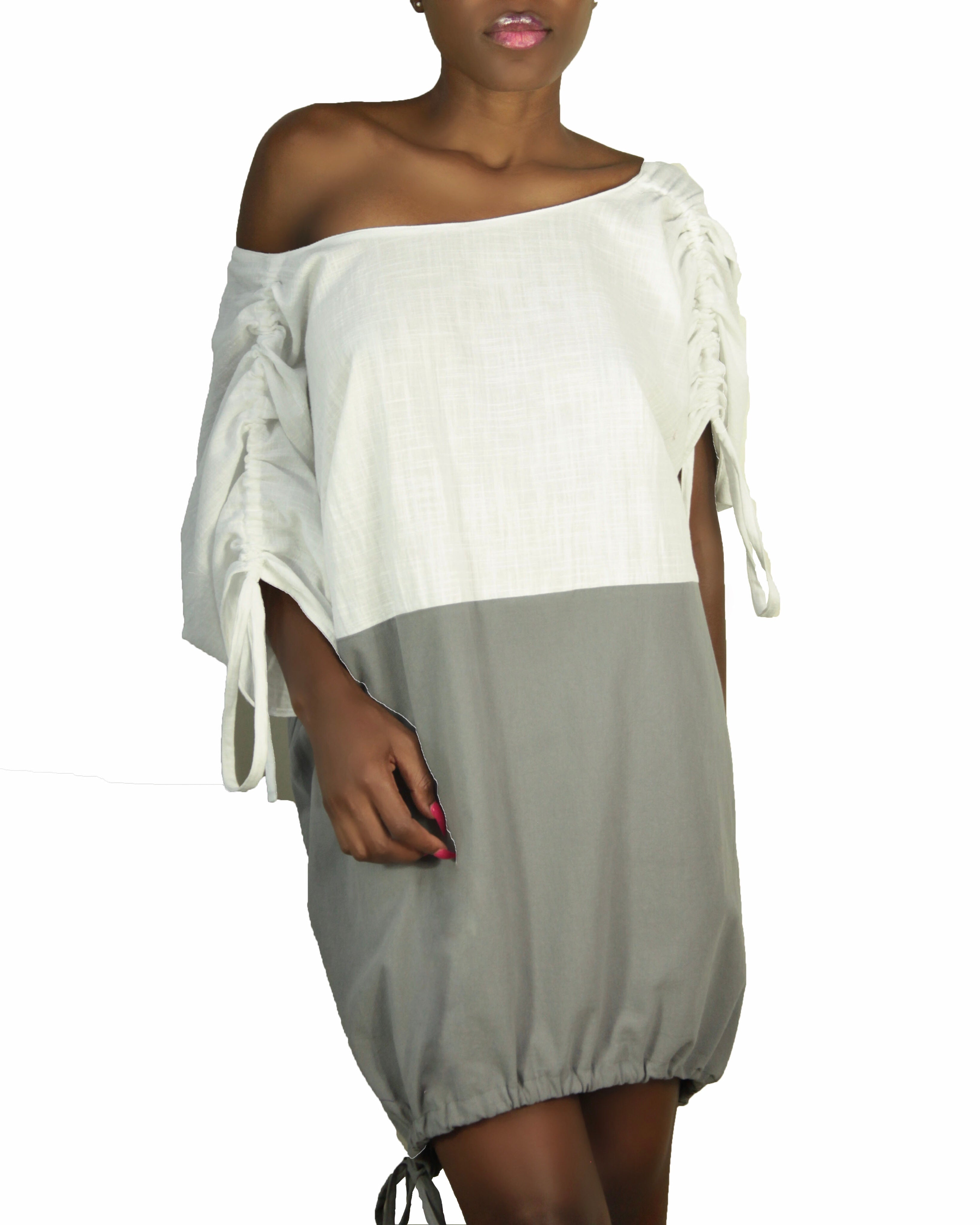 Keneea Linton Gray and White Parachute Dress