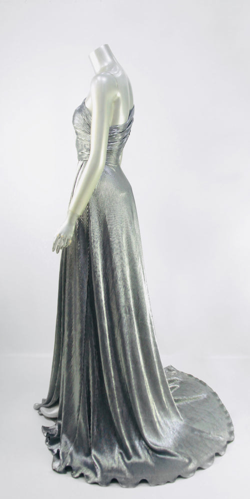 Keneea Linton Platinum Goddess One-Shoulder Pleated Gown