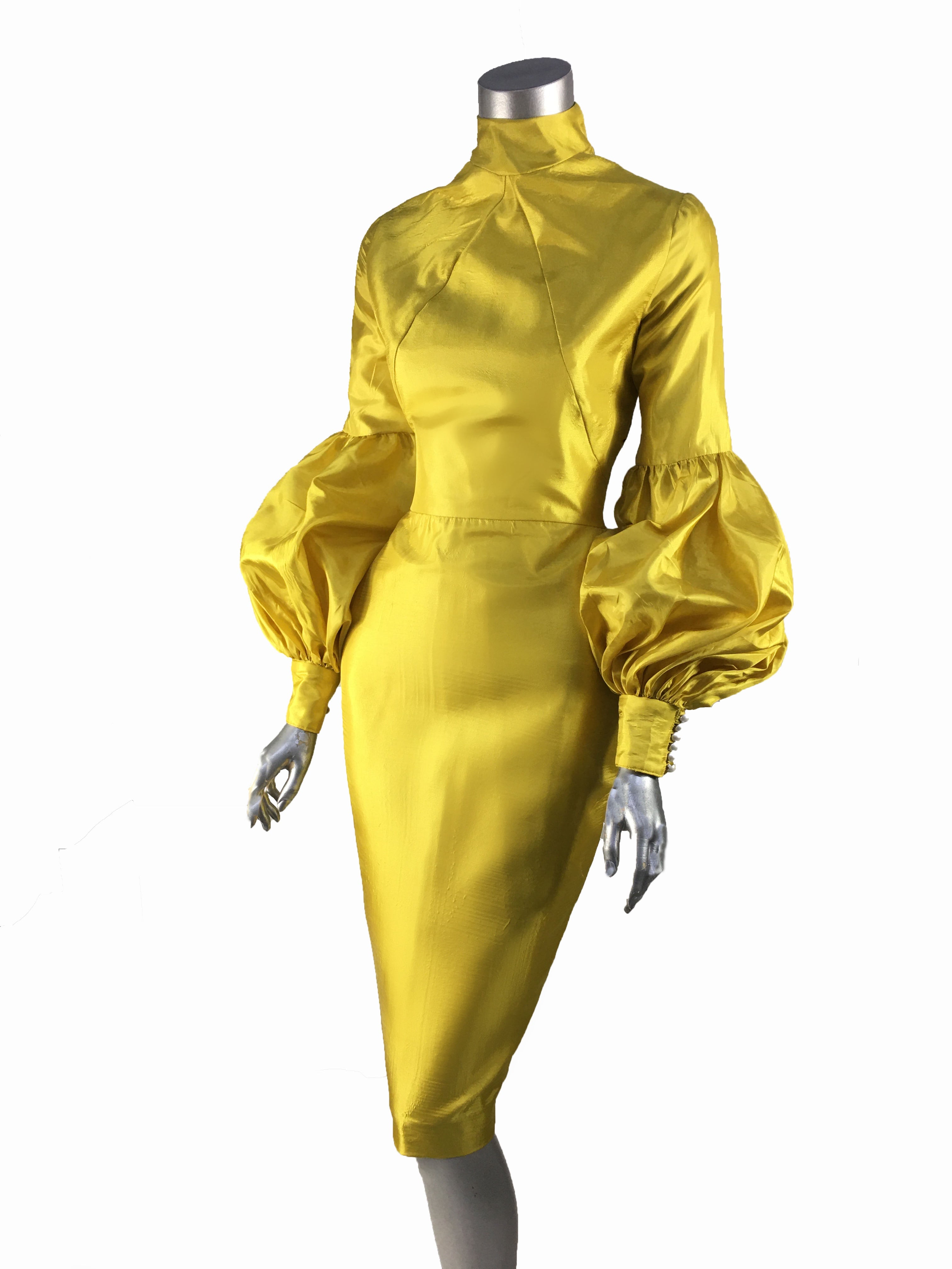 Keneea Linton Popcorn Pencil Dress with Balloon Sleeves