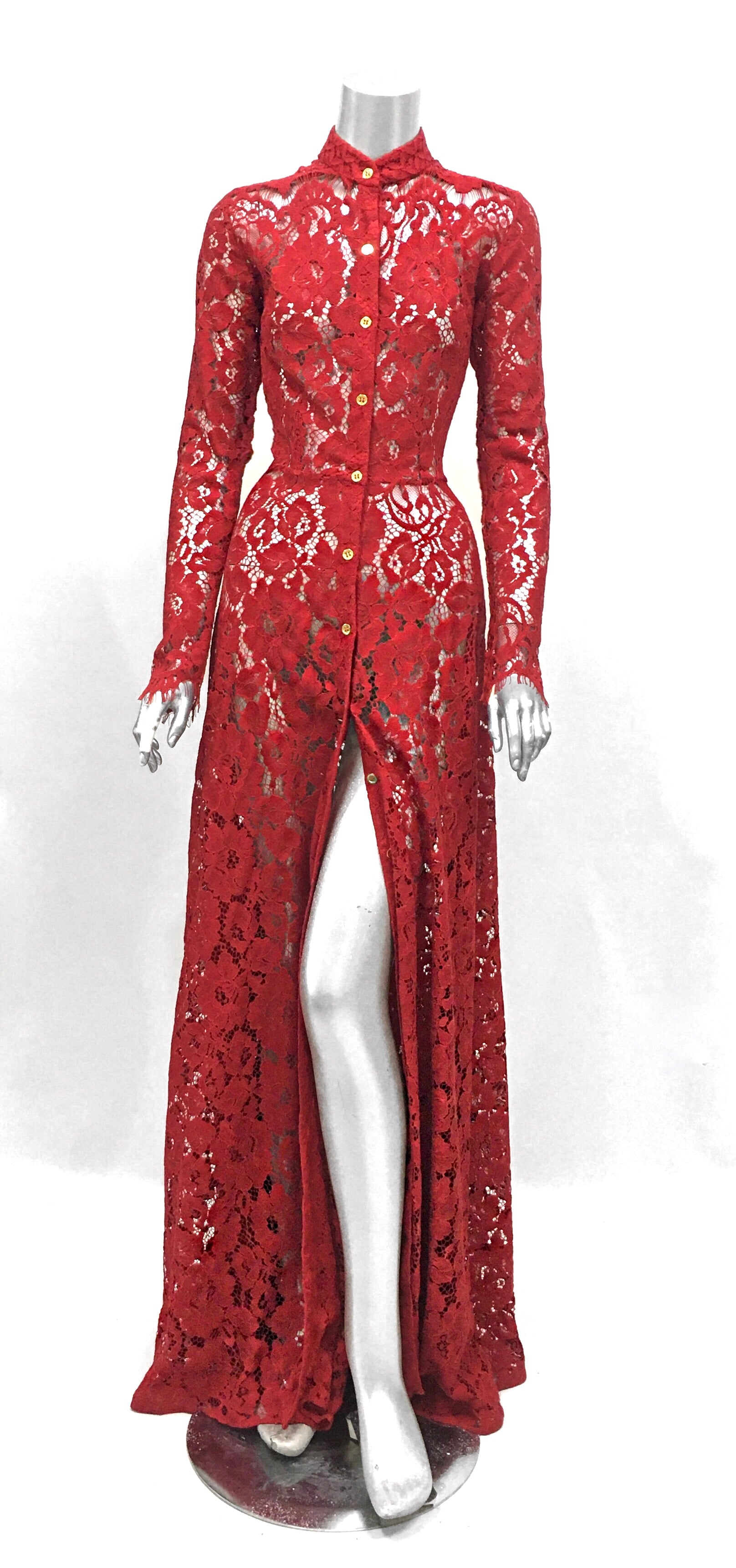 Keneea Linton Red Dentelle Gown