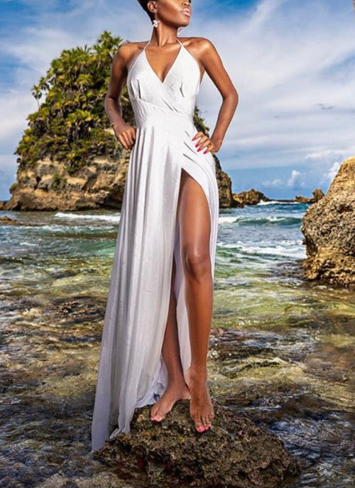 Keneea Linton White Halter Maxi Wrap Dress