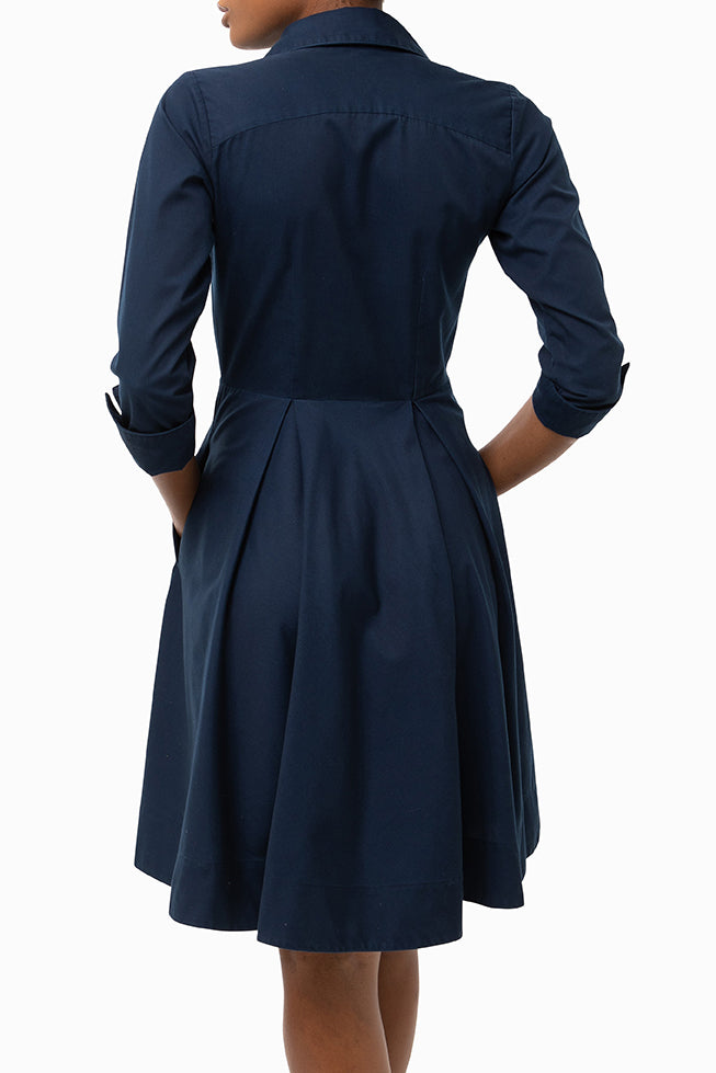 Classic Pleated Keneea Linton Shirtdress — Navy Blue