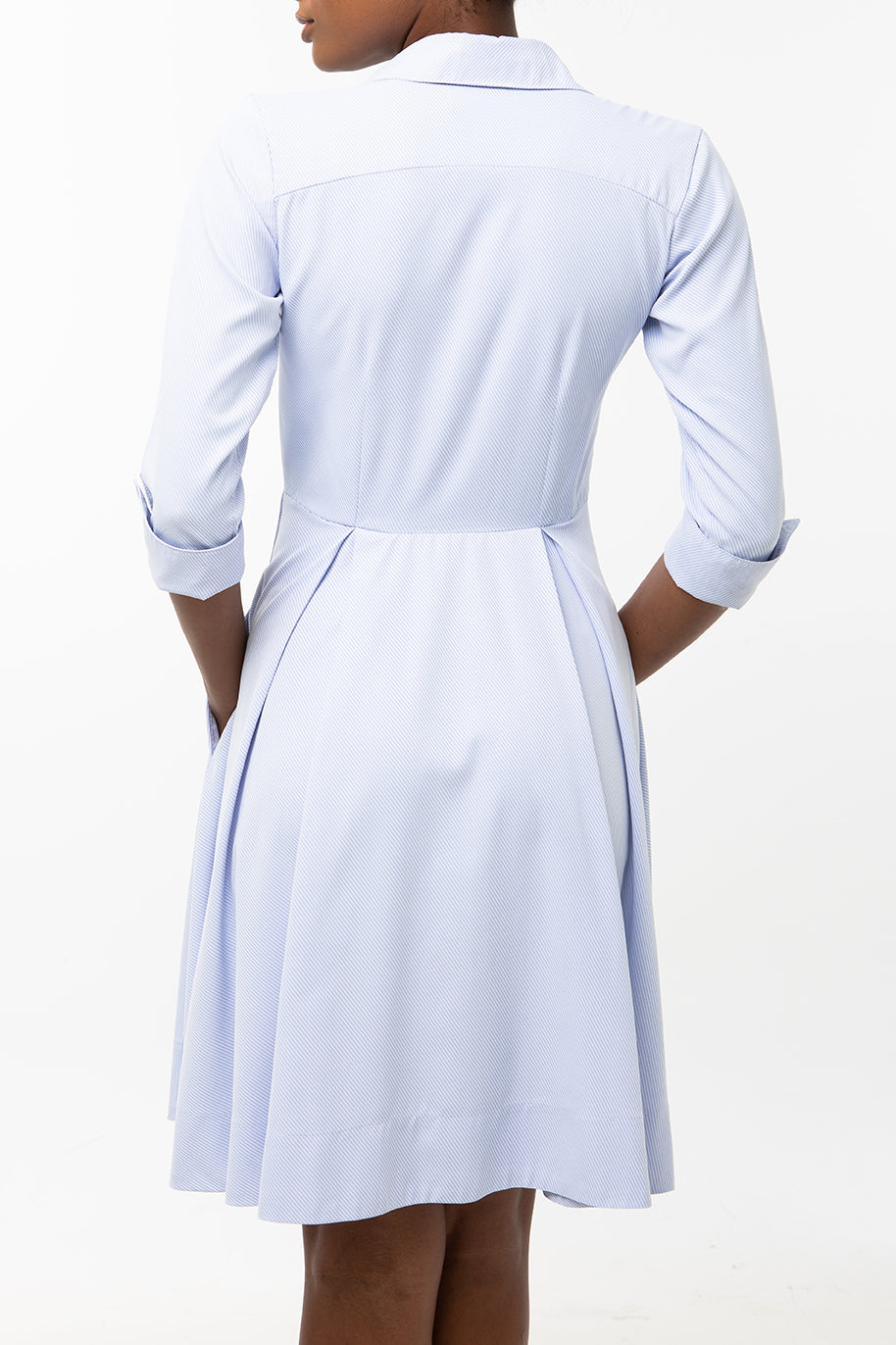 Classic Pleated Keneea Linton Shirtdress — Sky blue (pin stripes)
